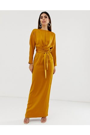 ASOS Maxi dress with batwing sleeve and wrap waist in satin-Gold
