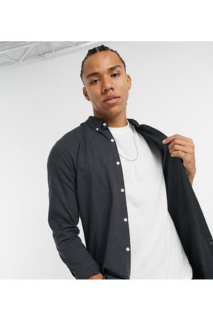 Farah Brewer slim fit logo oxford shirt in dark grey