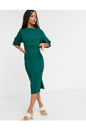 Closet Naiset Kynämekot - Ribbed pencil dress with tie belt in emerald green