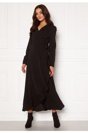 John Zack Long Sleeve Wrap Frill Maxi Dress Black S (UK10)