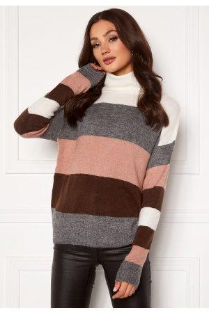 JACQUELINE DE YONG Elanora L/S Stripe Rollneck Knit Woodrose/ Stripes S