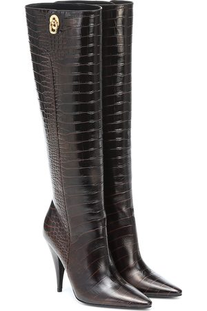 Tom Ford Naiset Ylipolvensaappaat - Croc-effect leather knee-high boots