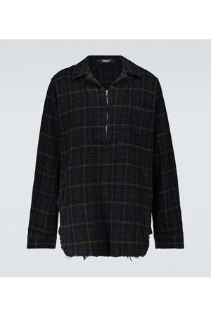 Undercover Half-zipped checked wool overshirt