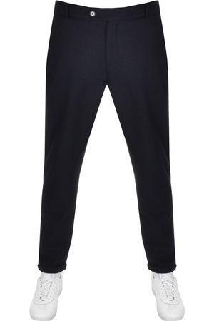 Les Deux Como Pinstripe Cropped Slim Trousers Navy