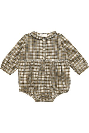 Caramel Baby Wryneck checked cotton and wool onesie