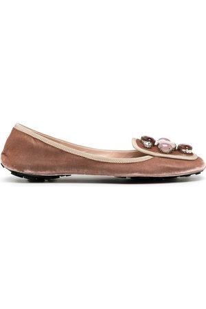 Car Shoe Velvet embellished ballerina pumps