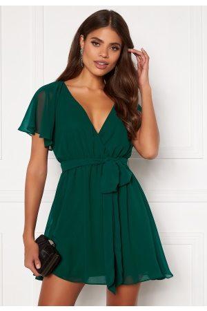Goddiva Naiset Rennot Mekot - Flutter Skater Dress Green S (UK10)