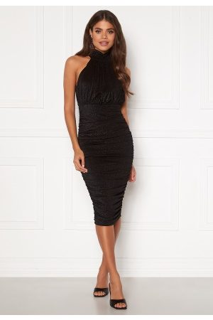 Ax Paris Naiset Halterneck Mekot - Sparkle High Neck Rouch Midi Dress Black M (UK12)