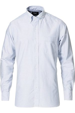 Drake's Striped Oxford Button Down Shirt Blue/White
