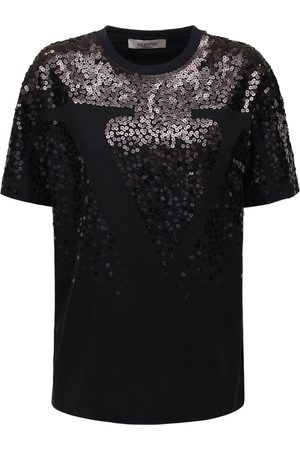 VALENTINO Naiset T-paidat - Sequined Cotton Jersey T-shirt