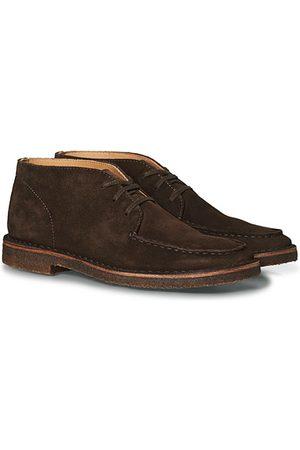 Drake's Crosby Moc-Toe Suede Chukka Boots Dark Brown