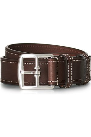Anderson's Miehet Vyöt - Bridle Stiched 3,5 cm Leather Belt Brown