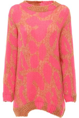 Stella McCartney Leopard Intarsia Knit Wool Blend Sweater