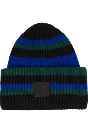 Acne Studios Pipot - Face-patch striped beanie