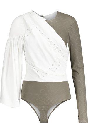 Marine Serre Jersey and cotton-poplin bodysuit