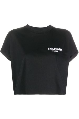 Balmain Naiset T-paidat - Logo-embroidered cropped T-shirt