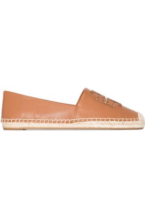 Tory Burch Ines flat leather canvas espadrilles