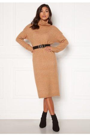 Vero Moda Gaiva LS Cowl Neck Dress Tan, W. Melange XS