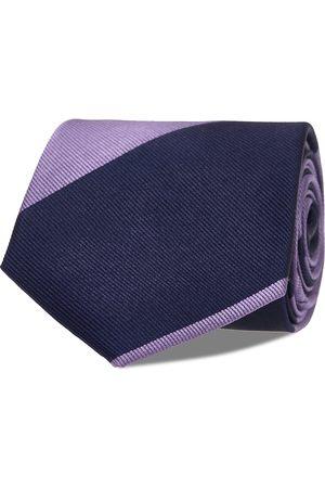 AN IVY Navy Purple Block Silk Tie Solmio Kravatti