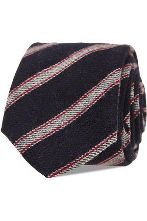 AN IVY Navy Grey Striped Wool Tie Solmio Kravatti
