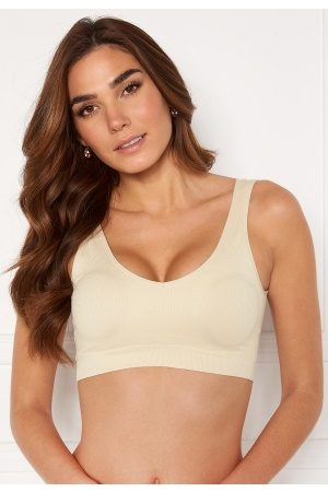 Pieces Naiset Rintaliivit - Symmi Rib Bra Top 2-Pack Whitecap Gray S/M
