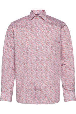 Eton Contemporary Fit Offwhite/Brown Signature Twill Shirt Paita Bisnes Vaaleanpunainen