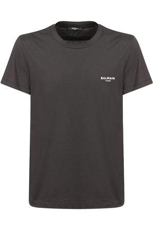 Balmain Miehet T-paidat - Flocked Logo Organic Cotton T-shirt