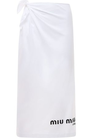Miu Miu Naiset Kynähameet - Cotton Jersey Pencil Skirt W/side Logo