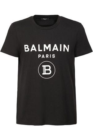 Balmain Miehet T-paidat - Logo Printed Cotton Jersey T-shirt