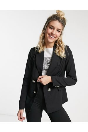 New Look Double breasted button detail blazer in black