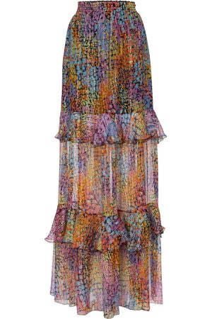 Dundas Printed metallic silk maxi skirt