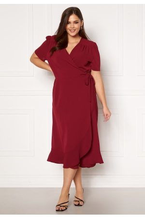 John Zack Short Sleeve Wrap Frill Curve Dress Wine 46 (UK18)