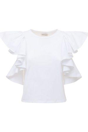 Alexander McQueen Cotton Jersey T-shirt W/ruffled Sleeves