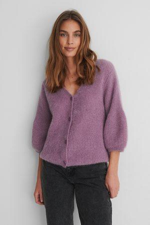 NA-KD Naiset T-paidat - Balloon Sleeve Short Knitted Cardigan - Purple