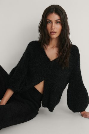 NA-KD Balloon Sleeve Short Knitted Cardigan - Black
