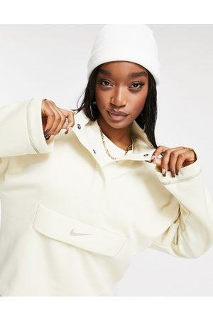 Nike Swoosh quarter zip funnel sweatshirt in oatmeal-Cream