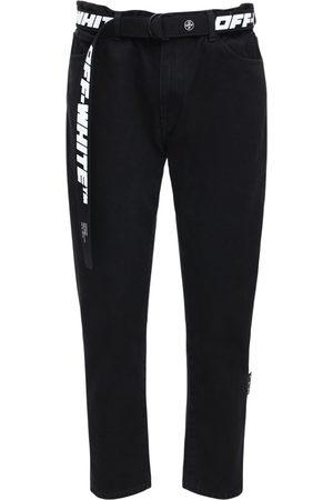 OFF-WHITE Low Crotch Cotton Denim Slim Jeans