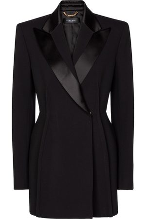 VERSACE Pleated double-breasted blazer