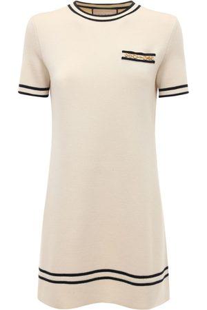 Gucci Wool Jacquard Knit Crewneck Mini Dress
