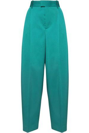 Bottega Veneta Naiset Leveälahkeiset - High Waist Wool Gabardine Wide Leg Pants