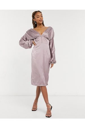Chi Chi London Paislie plunge satin midi dress with button detail in mink-Pink