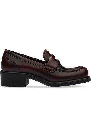 Miu Miu Square-toe block heel loafers