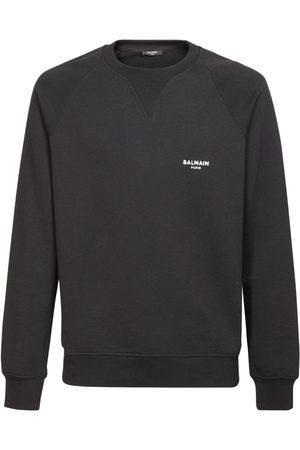 Balmain Miehet Collegepaidat - Flocked Logo Organic Cotton Sweatshirt