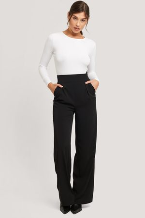 NA-KD High Waisted Wide Leg Suit Pants - Black