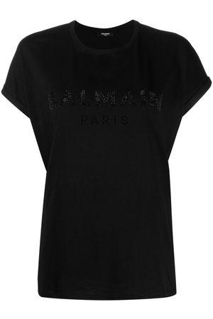 Balmain Rhinestone-logo T-shirt