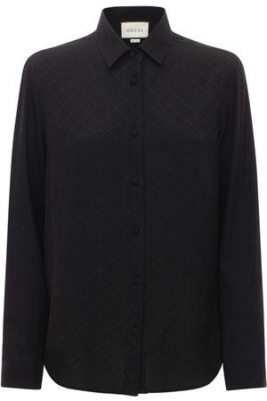 Gucci Naiset Paidat - Gg Print Silk Crepe Shirt