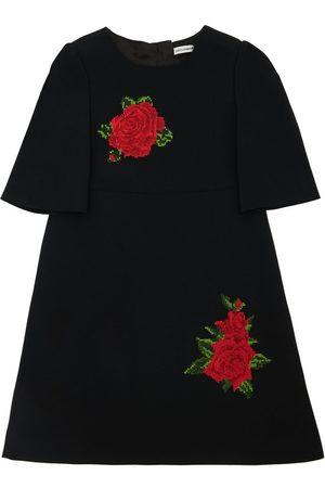 Dolce & Gabbana Tytöt Hihattomat Mekot - Sleeveless Cady Dress W/ Rose Patches