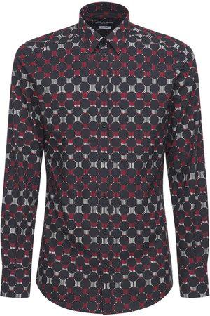 Dolce & Gabbana Geometric Print Stretch Cotton Shirt