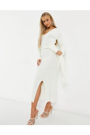 Fashionkilla Knitted plunge front belted midi dress in ecru-White