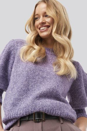 NA-KD Short Puff Sleeve Knitted Sweater - Purple